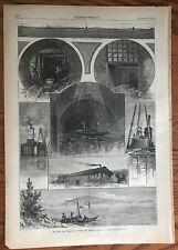 New Main Drainage Works For Boston.   Wood Engraving, 1880.