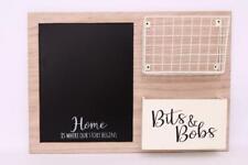 Wood Black chalk board Wire Storage Basket Message Memo Wall Unit Bits & Bobs