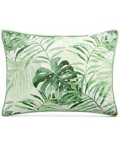 Martha Stewart STANDARD Pillow Sham Palm Fronds Cotton GREEN 356