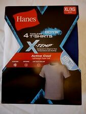 Boys' Hanes X-Temp Tagless T Shirts 4 Pack Size X-Large 18-20 NEW Blue Black Gra