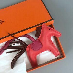 Hermes Grigri Rodeo PM Leather Bag Charm Birkin Kelly Rose Jaipur Rouge H Pink