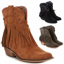 Stivali donna texani western cowboy frange camoscio scarpe casual TOOCOOL G631