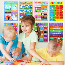 10Pcs Kids Children Preschool Posters Charts Alphabet Letters Numbers Learning