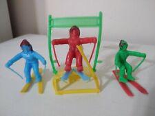 "Vintage Skier Plastic Toy Soldiers 1/32 Set Argentina ""Alb"" 1970"
