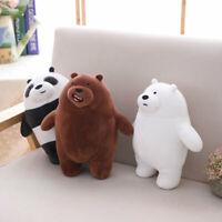 27cm Kawaii We Bare Bears Plush Toy Cartoon Bear Stuffed Grizzly Gray White Bear