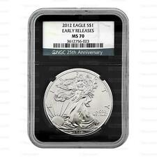 New 2012 American Silver Eagle 1oz Early Release 25th Anniversary NGC MS70