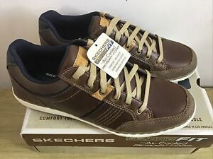 Skechers Lansin Rometo Brown Leather Trainers Size UK 7 EUR 41