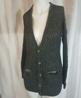 Women's American Eagle Outfitters Cable Knit Gray Cardigan Sweater Medium