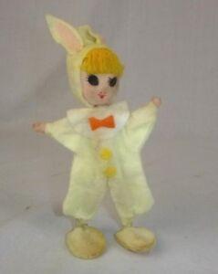 """Vtg Stockinette Felt Bunny Girl Flexible & Stands 7"""" Needs TLC"""
