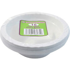 16 x WHITE PLASTIC BOWLS 12oz DISPOSABLE CATERING PARTIES PARTY SUPPLIES FOOD