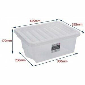 16L Wham Crystal Stacking Plastic Storage Box Clear Clip Lid UK MADE + LID 5****