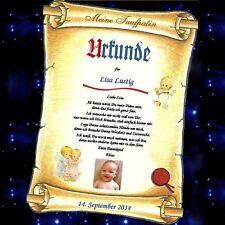 Urkunde für Patenschaft - Geschenk für Kind oder Patentante Patenonkel Taufpaten