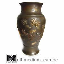 Meiji Bronze Vase Japan Vögel Blumen bronce birds flowers Shakudo 🌺🌺🌺🌺🌺