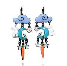 Boucles d'oreilles histoire de lapin ♥ nuage bleu lavande & lune ♥ lol bijoux ♥