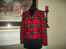 Pendleton 8 Red Plaid Blazer Black Velvet Trim and Buttons 100% Wool Lined