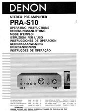 Denon PRA-S10 Amplifier Owners Instruction Manual