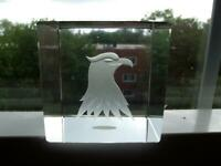 """Vintage 1970s Clear Glass 2.5"""" Cube Paperweight Surface Hand Etched Eagle Japan"""