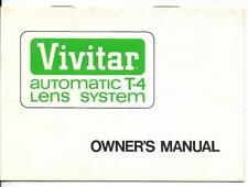 Vivitar Automatic T-4 Lens System Owner's Manual (1971)