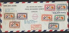 Curacao Netherlands Antilles 1941 rare FDC airmail Prins Bernhard Comite