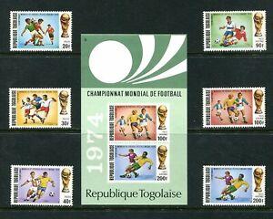 x311 - TOGO 1974 World Cup Soccer Set & Souvenir Sheet. Unmounted Mint MNH