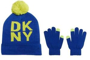 DKNY Boys Blue & Lime Pom Pom Beanie Hat and Gloves Set Size OS 8/20