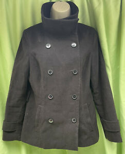 H&M Divided Black Size 14 High Collar Double Breasted Button Jacket