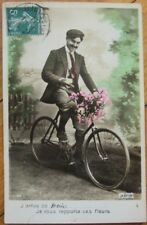 1911 Hand Colored Realphoto Fantasy Pc-Man on a Bicycle