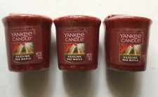 YANKEE CANDLE DAZZLING RED MAPLE LOT OF 3 WRAPPED VOTIVES HTF SCENT