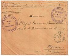 ETS PRENAT GIVORS Rhone PRISONNIERS DE GUERRE 14 18 sur ENVELOPPE 2 CACHETS L897