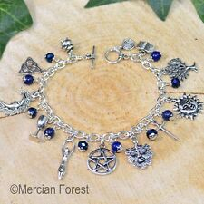 Wiccan Charm Bracelet Lapis Lazuli  - Pagan Jewellery, Wicca, Witch, Healing