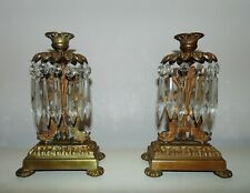 Pair 19th c. Victorian Dolphin Candlesticks Brass Finish c. 1880