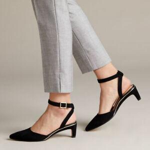 Clarks Ellis Glam Ladies Womens Stylish Buckle Black Suede Low Heel Shoes Size 7