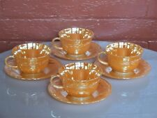 Anchor Hocking Glass 4 Fire King Peach Lustre Laurel 9 oz Cup & Saucer Sets