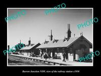 OLD POSTCARD SIZE PHOTO OF BURREN JUNCTION NSW THE RAILWAY STATION c1950