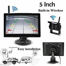 """Wireless IR Night Vision Rear View Backup Camera +5"""" Monitor for Truck/Trailer"""