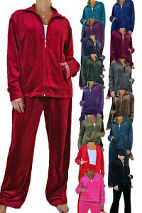 Ladies Plus Size Luxurious Velour Lounge Suit Tracksuit Top and Bottoms 10-26
