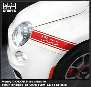 Fiat 500 2007-2015 Front Fender Side Stripes Decals (Choose Color)