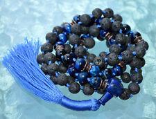 108 Hand knotted Hawks Eye Blue Tigers Eye Lapis Lazuli Basalt Lava Mala Beads