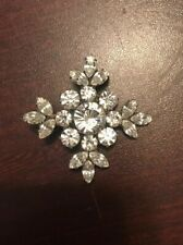 Costume Jewelry Silver Tone Rhinestone Snowflake Pin