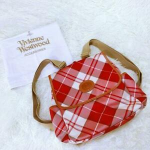 Vivienne Westwood Plaid Orb Backpack Hand Bag Red White Women's From Japan USED