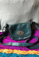 Fossil Maddox Dark Teal Blue Pebble Leather Magnetic Flap Shoulder Bag Crossbody