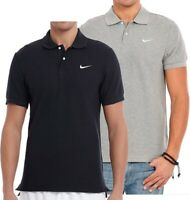 Men's Nike Polo Shirt Cotton Pique Polo Shirt T-Shirt Top - Grey & Black