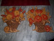 Set of 2 Vintage Burwood Syroco Flower Pots Baskets Wall Hanging