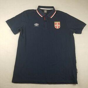 Umbro Blue Serbian Soccer Football Patch Polo Shirt Size L short sleeve Adult