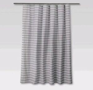 Threshold Radiant Gray White Striped Shower Curtain ~ Cotton ~ 72 ×72