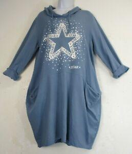 Lagenlook Ladies Womens 95% Cotton Hoodie LongTop/Dress One Size: Plus 16-20