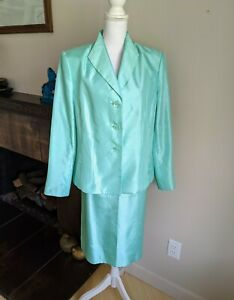 Le Suit Women's 16 Skirt Suit Set Pastel Seafoam Green 3 Button Jacket FLAW