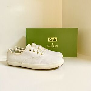 Keds For Kate Spade White Glitter Sneaker Shoes Size 7 NEW