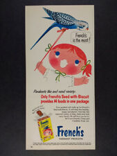 1960 French's Parakeet Seed girl pet bird color art vintage print Ad