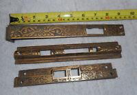 Vintage cast brass face plates Ornate Eastlake Victorian nice  (W3BxB)